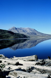 Mount St. Helens reflected in Spirit Lake
